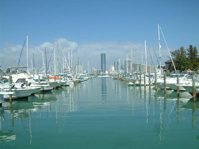 Key Biscayne real estate -  View of Miami from Rickenbacker Marina