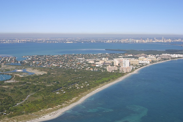 gorgeous overhead view of key biscayne florida