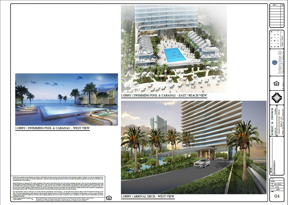 Turnberry Ocean Club lobby pool and arrival deck plan