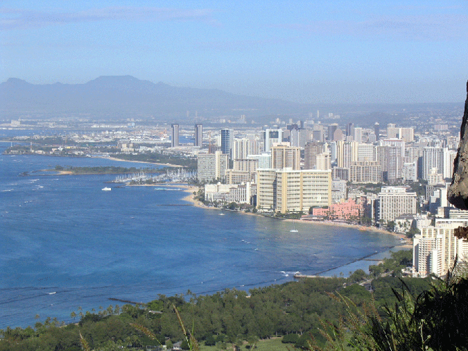 Oahu Hawaii real estate - View of Waikiki Beach from Diamond Head