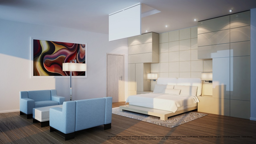 Porsche design tower penthouse master bedroom 1