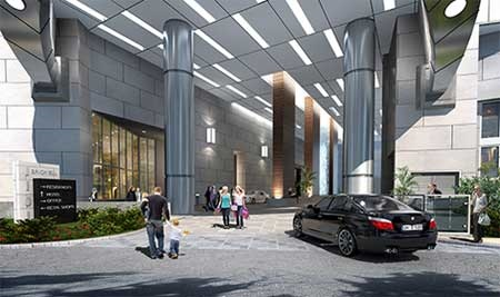 Panoram Tower Miami Condo entrance rendering
