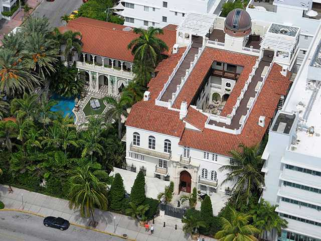 Versace mansion in South Beach Miami Beach areal view