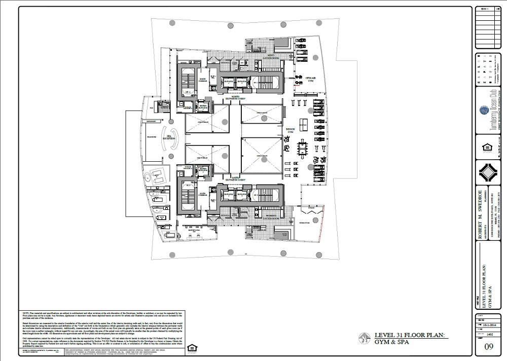 Turnberry Ocean Club gym and spa floor plan