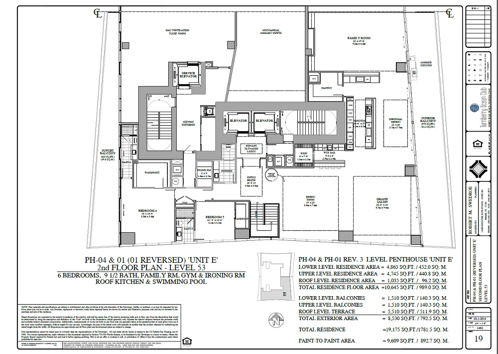Turnberry Ocean Club penthouse 04 and 01 2nd floor plan