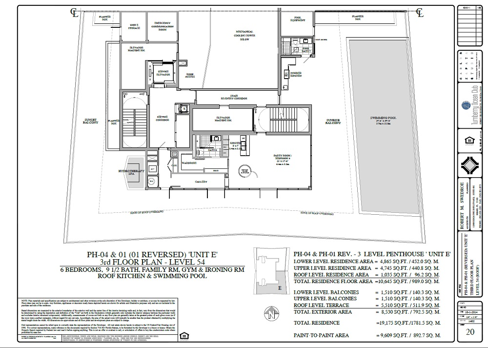Turnberry Ocean Club penthouse 04 and 01 3rd floor plan
