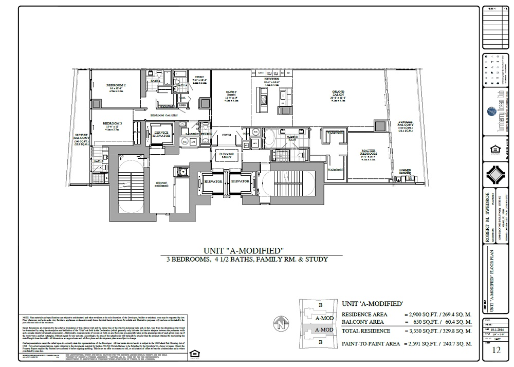 Turnberry Ocean Club  unit ! modified floor plan