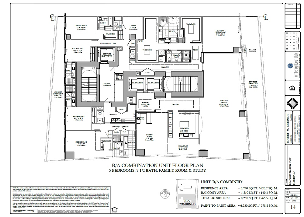 Turnberry Ocean Club unit a-b combined floor plan